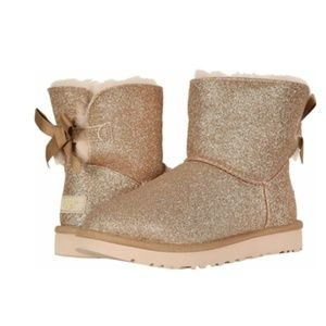 UGG Boots Mini Bailey Bow Gold Sparkle Glitter NEW